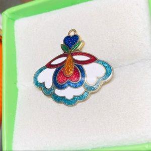 Nice Vintage Cloisonné Flower Pendant